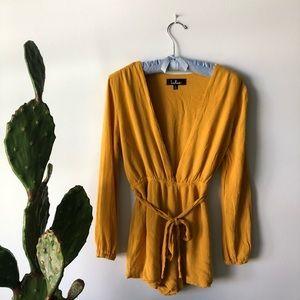 Lulu's Mustard Yellow Long Sleeve Romper